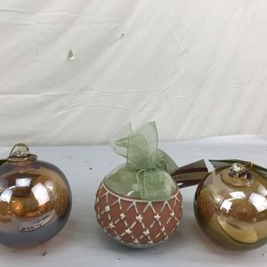 Lot of 3 Glass Christmas Ornament with Clay Accent